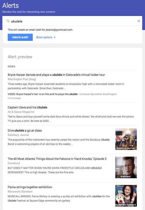 google alerts ukulele